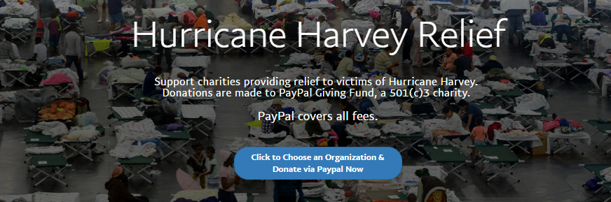 PayPal Accepting Hurricane Harvey Donations
