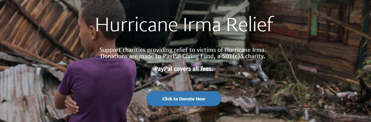 PayPal Accepting Hurricane Irma Donations