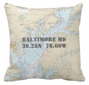 Nautical Baltimore Maryland Chesapeake Bay Pillow 189056697400688576