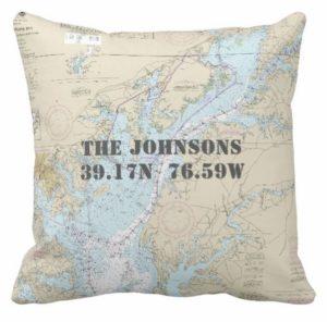 Nautical Baltimore MD Chesapeake Bay Pillow 189056697400688576
