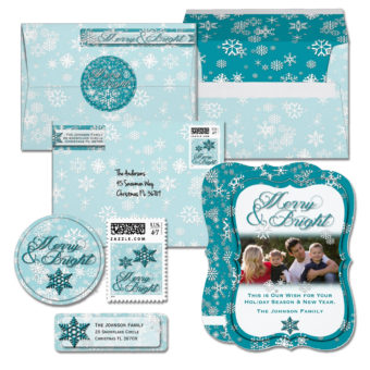Merry & Bright Teal & White Holiday Card Collection