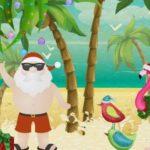 Tropical Santa Claus Greeting Card Sample